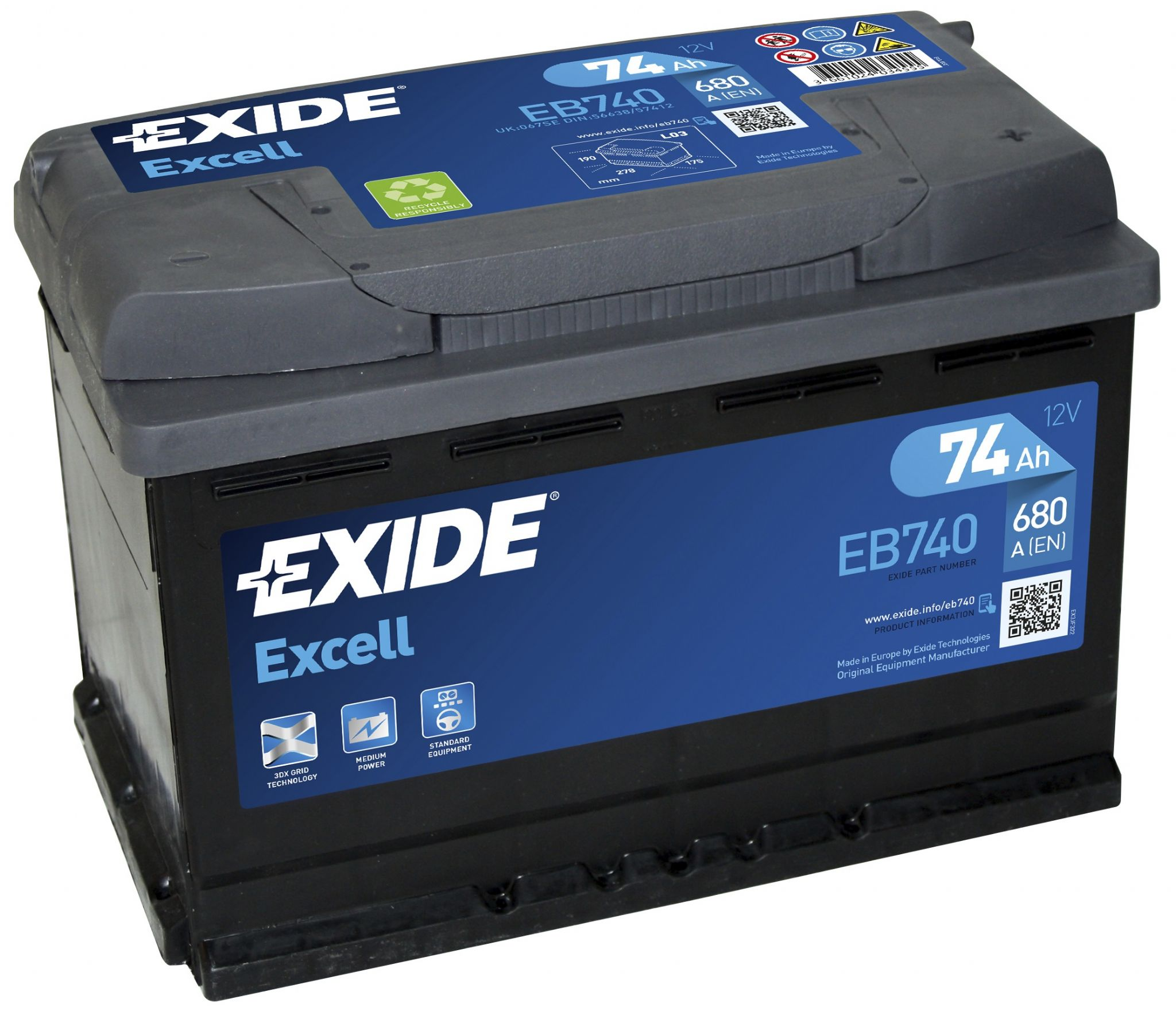 Exide Excell 067SE Car Battery EB740