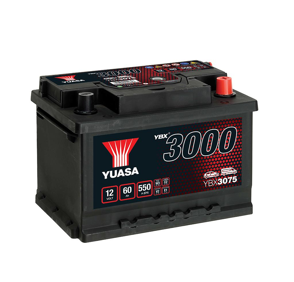 yuasa 12v 60ah 550a car battery ybx3075 hb075 hcb075. Black Bedroom Furniture Sets. Home Design Ideas